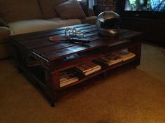 Reclaimed Pallet Coffee Table by HandyAnniesHandmade on Etsy https://www.etsy.com/listing/223543166/reclaimed-pallet-coffee-table