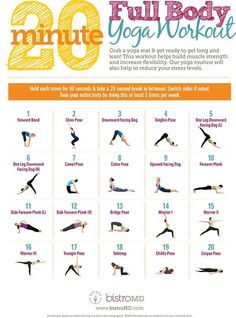 An Illustrated Guide To A 20 Minute Full Body Yoga Workout Infographic https://naturalon.com/illustrated-guide-20-minute-full-body-yoga-workout-infographic/#