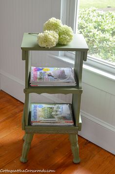 Take a look at how I transformed a chubby-legged odd piece of furniture into a cottage style magazine rack using some DIY chalky and acrylic paint. Shelf Makeover, Cottage Style Furniture, Jar Chandelier, Painted Cottage, Vintage Farmhouse, Plates On Wall, Country Decor, Vintage Decor, Painted Furniture