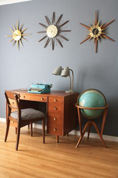 mid-century modern desk and fun clocks