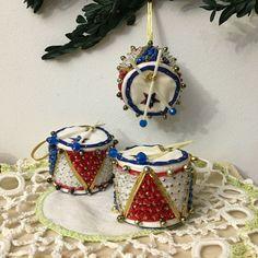 3 Vintage Handmade Bead Sequin Push Pin Drum Christmas Ornament #Christmas
