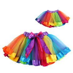 Girls-Kids-Baby-Rainbow-Fancy-Tutu-Bowknot-Skirt-Dress-Dancewear-Xmas-Costumes