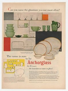 1955 Anchorglass Golden Anniversary Dinnerware Glass Ad