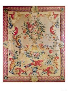 size: Giclee Print: Tapestry in Early Rococo Style with Strapwork and Acanthus Leaves by Joshua Morris, : Wrought Iron Bed Frames, Rococo Style, Affordable Wall Art, Acanthus, Cool Posters, Tapestry Wall Hanging, Canvas Frame, Giclee Print, Wall Art Prints