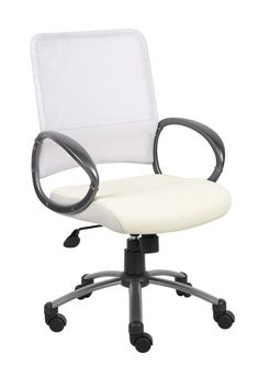 Amazon.com: Boss Mesh Back with Pewter Finish Task Chair, White: Office Products