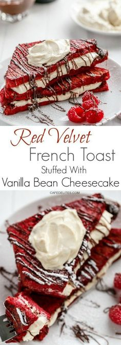 Red Velvet French Toast with Vanilla Bean Cheesecake Filling | http://cafedelites.com