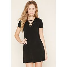 Forever 21 Women's  Lace-Up Crepe Dress (2140 RSD) ❤ liked on Polyvore featuring dresses, laced dress, short dresses, a line dress, mini dress and full length dress