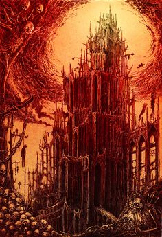 The Darkening of Macon Tobin: Part One. The dark tower stands on the edge of space. The wind moves slowly across black sands. -Alhrazad, The Mad Prophet Gothic Horror, Arte Horror, Gothic Art, Horror Art, Gothic Castle, Dark Castle, Gothic Cathedral, Dark Fantasy, Fantasy Art