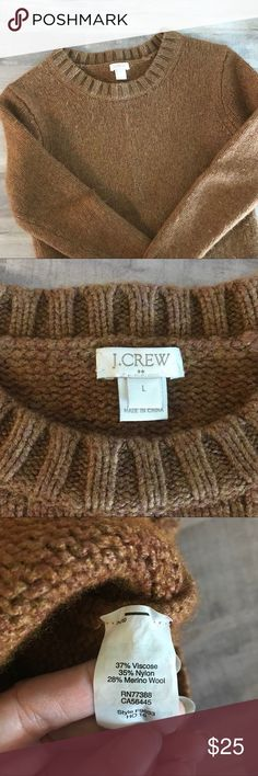 "J Crew Super Heavy Wool Sweater - Size Small My daughter said this is the heaviest sweater she has ever felt!  Super thick sweater by J. Crew.   Marked Size Large, but it is more like a women's small. ***Make sure you read the measurements***  Brown-rust color  37% Viscose 35% Nylon 28% Merino Wool  Very good condition with minor pilling.   Measurements:  Pit to Pit 16"" Shoulder to Hem 21"" J. Crew Sweaters Crew & Scoop Necks"