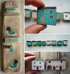 Love these painted houses and wooden accessories by Valériane Leblond.valeriane-leb… Love these painted houses and wooden accessories by Valériane Leblond. House Painting, Painting On Wood, Wood Projects, Craft Projects, Driftwood Crafts, Wooden Crafts, Miniature Houses, Miniature Dolls, Little Houses