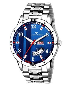 Fadiso Fashion Quartz Analogue Blue Dial Printed Day and Date Boy's and Men's Watch Cool Watches, Watches For Men, Wrist Watches, Women's Shoes, Couple Watch, Buy Mobile, Sunglasses Online, Digital Watch, Other Accessories