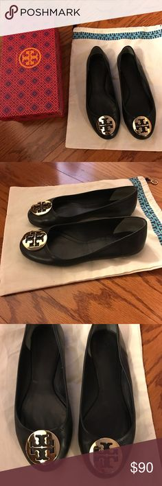Tory Burch Flats Black and gold-tone goatskin 'Reva' ballerinas! Size 8. In great condition, have only had for a year and wore them about 10 times! Tory Burch Shoes Flats & Loafers
