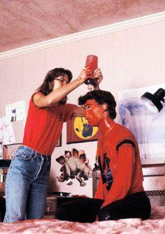Johnny Depp on the set of A Nightmare on Elm Street (1984).