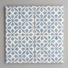 Aveiro tile - handpainted, handmade patterned grey and white tiles. Portuguese tiles for bathrooms and kitchens from Everett and Blue Patterned Kitchen Tiles, Blue Tiles, White Tiles, Blue Kitchen Tiles, Kitchen Splashback Tiles, Floor Patterns, Tile Patterns, Blue Kitchen Designs, Light Blue Kitchens