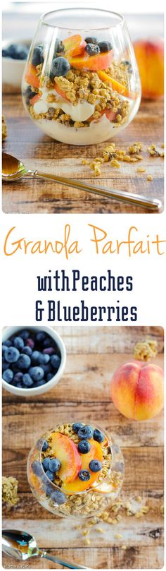 Granola Parfaits with Peaches & Blueberries | Home & Plate | www.homeandplate.com | Enjoy a healthy breakfast of yogurt, fresh fruit and granola.