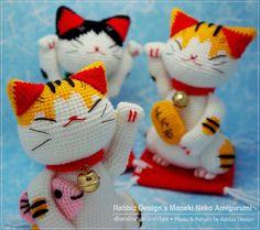 PDF Pattern Amigurumi Maneki Neko Lucky Cat by rabbizdesign