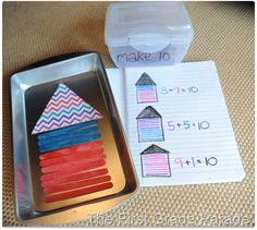 Making 10 Houses.this could be used for any sum & match our math facts for the week Math Classroom, Kindergarten Math, Teaching Math, Classroom Ideas, Math Resources, Math Activities, Math Numbers, Decomposing Numbers, Math Tubs