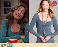 Riley's blue long sleeved top on Girl Meets World.  Outfit Details: http://wornontv.net/38164/ #GirlMeetsWorld