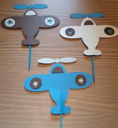 Airplane Cupcake and Treat Toppers. Airplane birthday party.   Airplane baby shower by CelebrationBee on Etsy https://www.etsy.com/listing/233180555/airplane-cupcake-and-treat-toppers