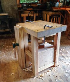 Windsor chair seat carving bench with 125 pounds of sand in the bottom for stability
