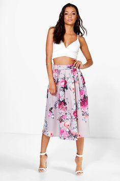 Tall Elena Floral Print Scuba Midi Skirt