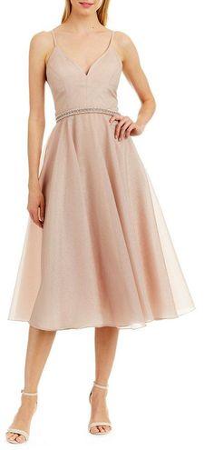 Nicole Miller New York Sleeveless Crinkle Organza Beaded Waist A-Line Midi  Dress