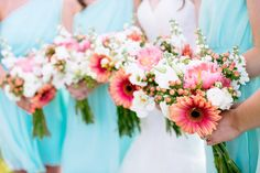 A beautiful coral, turquoise and blush summer vineyard wedding in Virginia | Grant & Deb Photographers: http://grantdeb.com