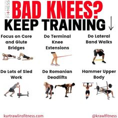 NO PROBLEM! First off, if you have a minor knee issue that will be resolved in a short period of time, consider that a good time to really hone in on your upper body. Make lemonade out of lemons, if you will. Knee Strengthening Exercises, Bad Knee Exercises, Torn Meniscus Exercises, Knee Arthritis Exercises, Quad Exercises, Knee Stretches, Training Exercises, Different Exercises, K Tape
