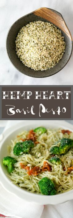 Hemp Heart Basil Pesto, a heart healthy way to add omega-3's and omega-6's to your plant based diet! An easy recipe for  a weeknight dinner/meal!