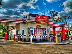 Checkers Drive In Restaurant on International drive is a must! Best Chicken burger & Fries ever.Sister will be jealous - Kissimmee Orlando Florida Clearwater Florida, Sarasota Florida, Florida Beaches, Orlando Florida, Orlando 2017, Miss Florida, Old Florida, Florida Travel, Florida 2017