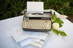 newspaper wedding: They typed out their DIY invitation, typos and all, and sent them to the guests.