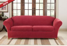 Sure Fit Slipcovers Stretch Piqué 2 Seat Individual Cushion Loveseat Covers - Loveseat