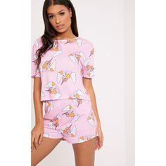 Pale Pink Unicorn Short Pj Set ($15) ❤ liked on Polyvore featuring intimates, sleepwear, pajamas, pink, unicorn sleepwear, pink sleepwear, pink pjs, short sleepwear and unicorn pajamas