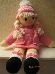 """knitted doll """"pretty in pink"""" ♡ lovely doll"""