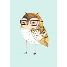 ASHLEY PERCIVAL Little Owl Wearing Glasses A3 --- Little Owl Wearing GlassesThis is a limited edition (100 prints) print.Printed on A3 ( 16.54in x 11.69in) Fine Art (220 gsm) Matt Paper. Print comes signed and numbered.Shipped in protective packaging.
