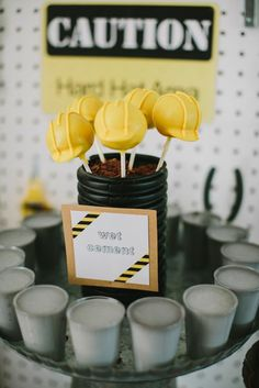 Construction Birthday Party - Hard hat cake lollipops and fresh cement vanilla panna cotta!