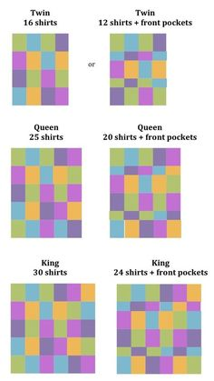 T-Shirt Quilts - good to know how many shirts it takes.