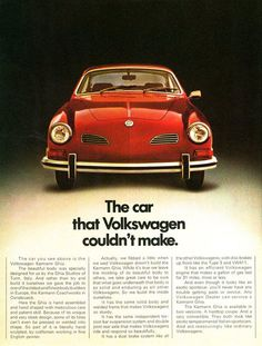 "VW Karmann Ghia, 1972. The car that Volkswagen couldn't make. From the ""Things You Never Knew"" Full Line Brochure, DDB / Volkswagen of Canada. Via samba.com"