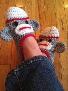 Ravelry: Ladies Sock Monkey Slippers pattern by Jo-Anne Wilkes-Baker