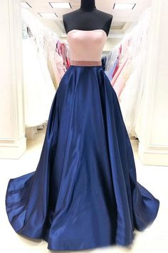 Strapless Contrast Colored Pink Bodice and Navy Skirt Rhinestones Sash Decorated Prom Dress Burgundy Homecoming Dresses, Beautiful Prom Dresses, Bridesmaid Dresses, Wedding Dresses, Prom Dresses With Pockets, Dresses With Sleeves, Discount Prom Dresses, Mini Skater Dress, Navy Skirt