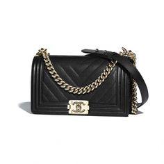 781ad733f381 BOY CHANEL Handbag Grained Calfskin  amp  Gold-Tone Metal Black - view 1 -