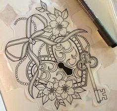 Heart and Key Tattoo Girly Tattoos, Pretty Tattoos, Beautiful Tattoos, Body Art Tattoos, Sleeve Tattoos, Flower Tattoos, Tatoos, Padlock Tattoo, Heart Lock Tattoo