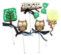 Items similar to Owl Boy Hoot Themed Party Centerpiece Sticks Set of 5 Personalized With Name and Age - Woodland on Etsy Owl Party Decorations, Party Centerpieces, Party Themes, Sticks, Christmas Ornaments, Holiday Decor, Unique Jewelry, Handmade Gifts, Etsy