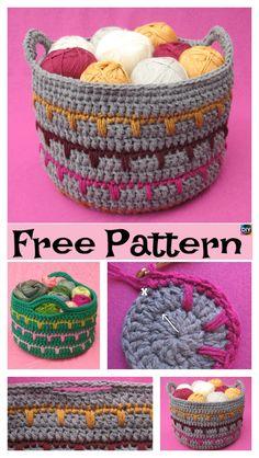 Crochet Spike Stitch Basket – Free Pattern #freecrochetpatterns #basket #storage