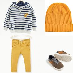Baby boy outfit Zara and H&M 2016 fall collection. Yellow trousers, blue sweater.
