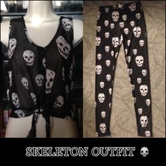 Skeleton Leggings Black and white skeleton leggings and matching sheer top. In great used condition. Pants Leggings