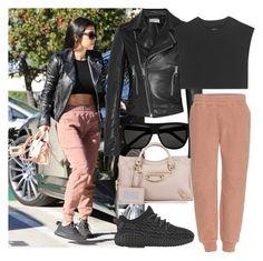 """Street Style: Kourtney Kardashian"" by lolaaab ❤ liked on Polyvore featuring Balenciaga, Yves Saint Laurent and adidas Originals"