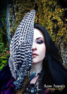 Goddess Magic Priestess Shaman Enchanted Forest Fine Art Photography Smudge Fan Mossy Tree Oregon Greeting Card THE SEER by Spinning Castle