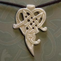 Celtic or Viking  Style Bone Pendant Witches Heart | Wodenswolf - Jewelry on ArtFire