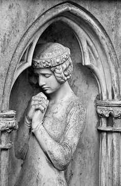 Silent prayer / Stilles Gebet    A female figure on one of the older graves at the main cemetery in Frankfurt am Main, Germany. I especially liked her braided hair and the headband.